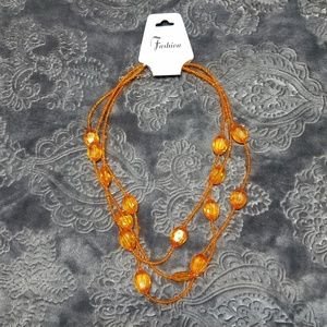 Jewelry - Orange bead layer costume jewelry necklace NWT